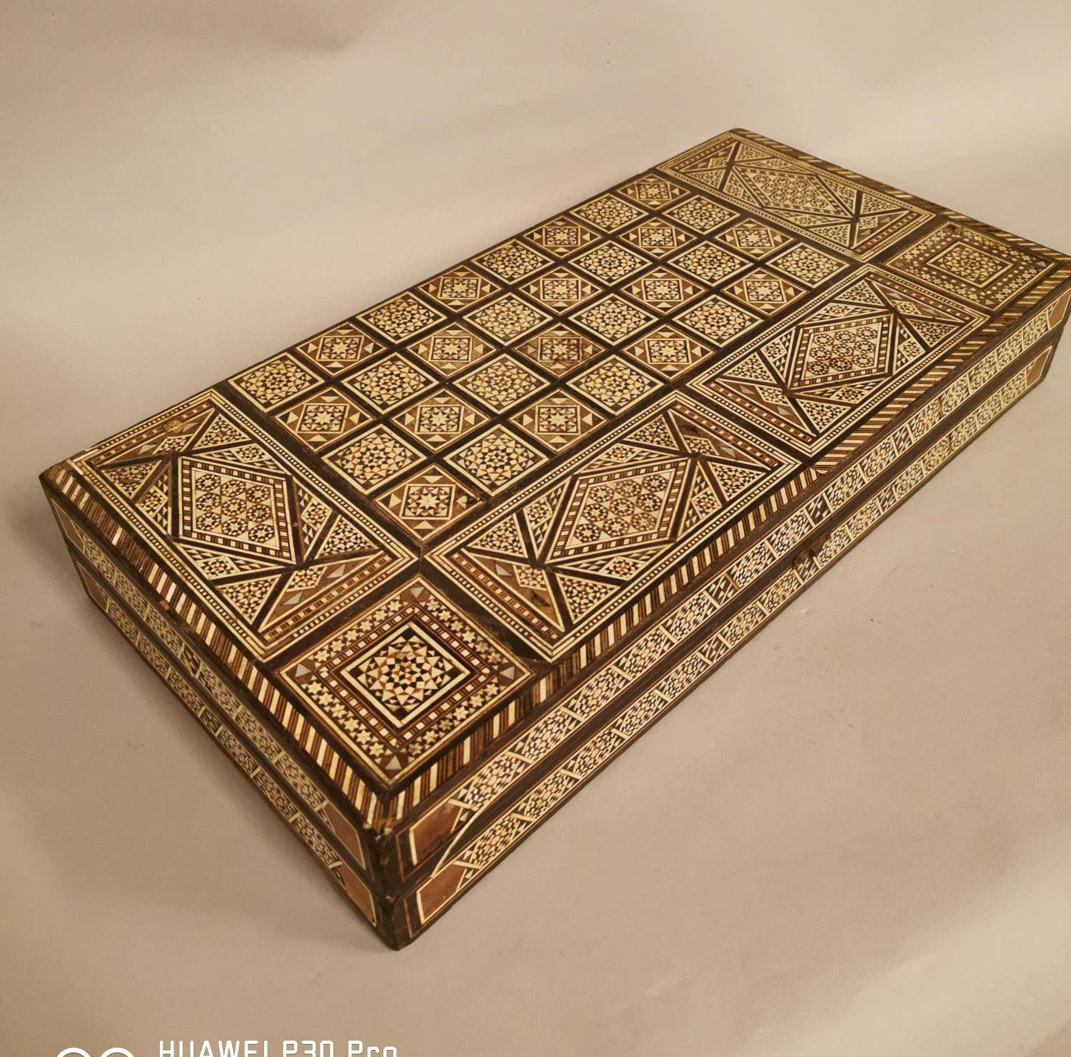 Early 20th C. backgammon games board inlaid with bone and ebony in the Anglo Indian style { - Image 5 of 6