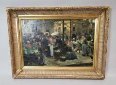 Framed oil on canvas Market Scene.