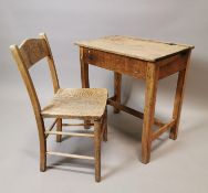 1950's pine child's desk and chair.