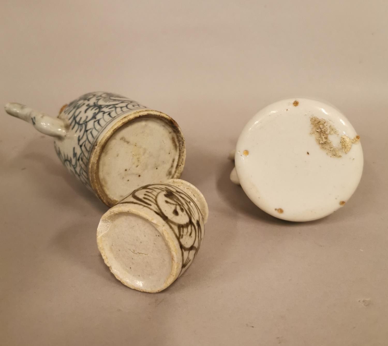 Three piece Oriental ceramic Saki set. - Image 3 of 3