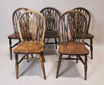 Set of six pine kitchen chairs.