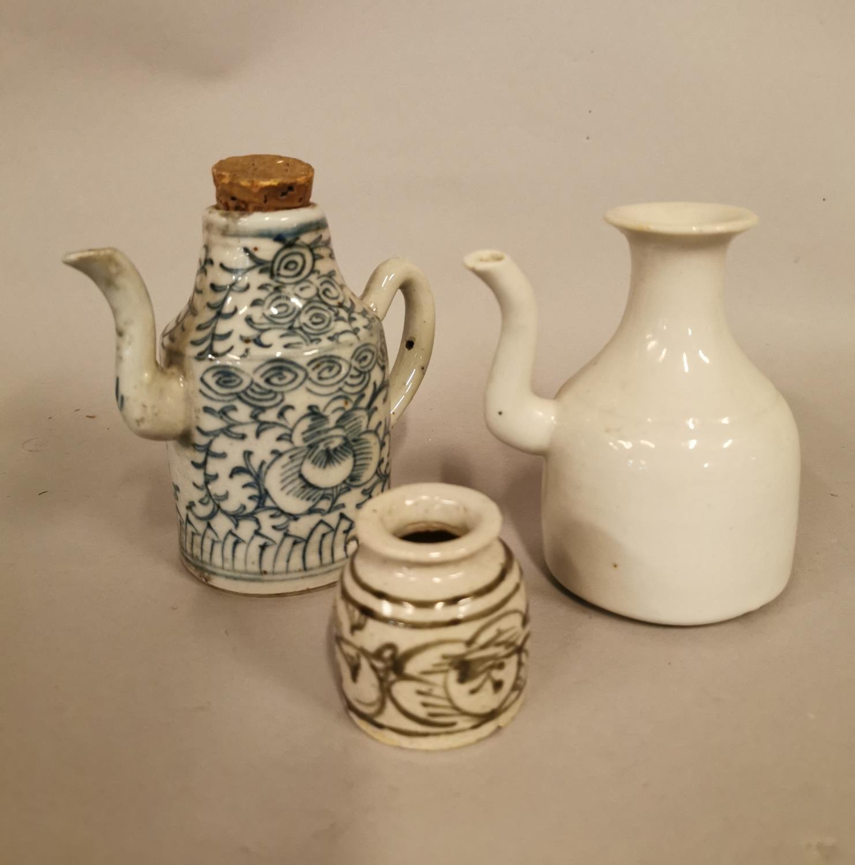 Three piece Oriental ceramic Saki set.