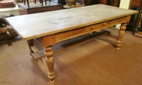 19th C. scrubbed pine kitchen table raised on turned legs {78 cm H x 210 cm W x 95 cm D}.