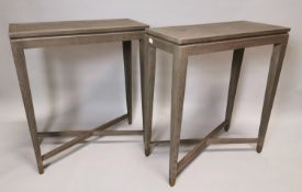 Pair of stylish bleached oak side tables.