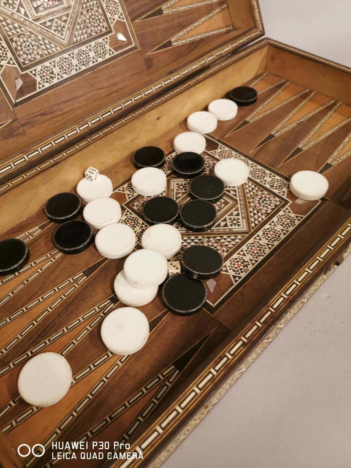 Early 20th C. backgammon games board inlaid with bone and ebony in the Anglo Indian style { - Image 4 of 6