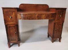 19th C. inlaid mahogany pedestal side board.