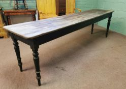 19th C. painted pine kitchen table.
