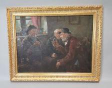 Framed oil on canvas The Story Teller.