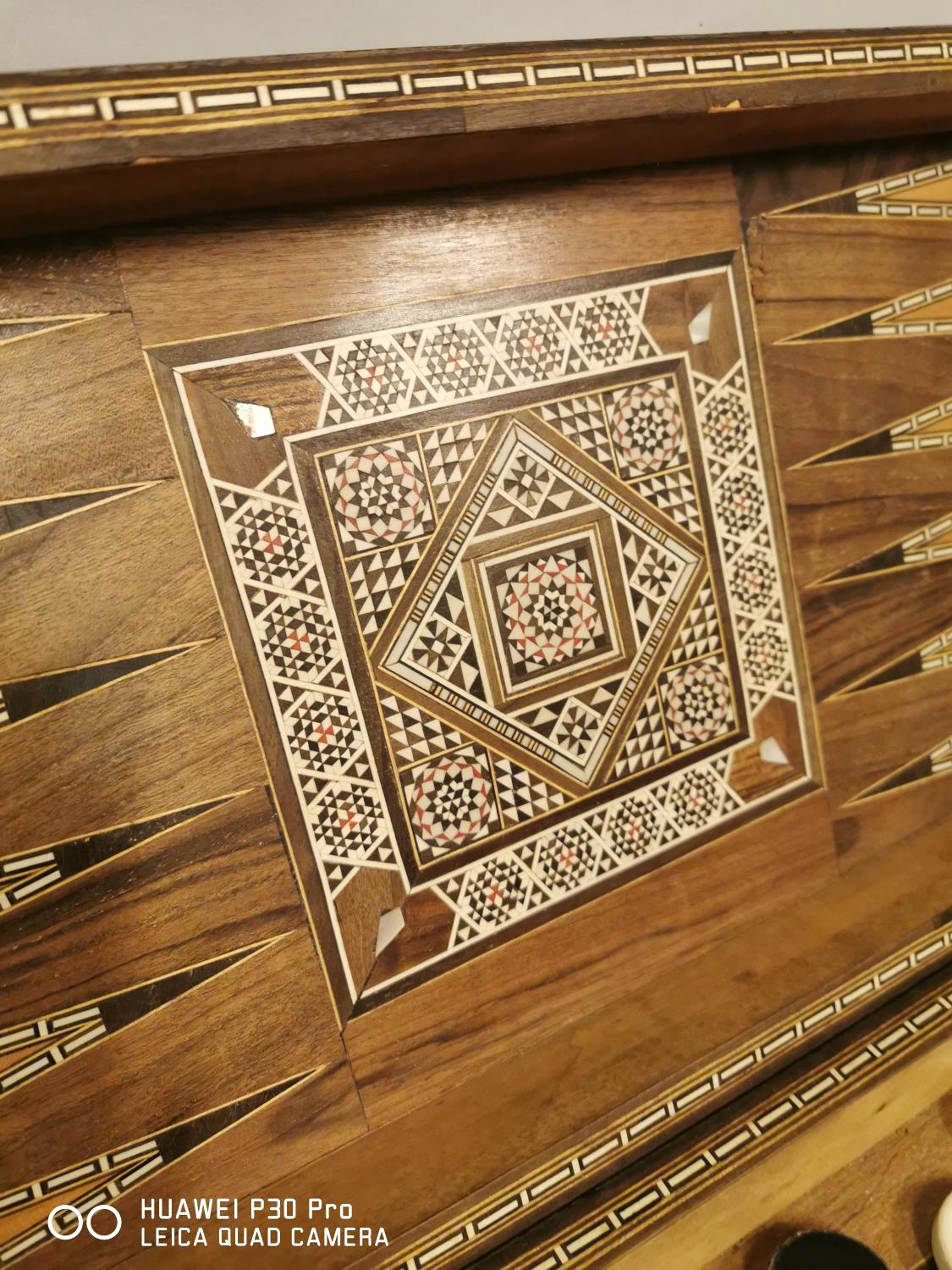 Early 20th C. backgammon games board inlaid with bone and ebony in the Anglo Indian style { - Image 2 of 6