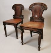 Near pair of William IV mahogany side chairs.
