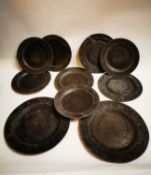 Collection of ten 18th C. pewter plates.