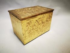 Edwardian embossed brass coal box.