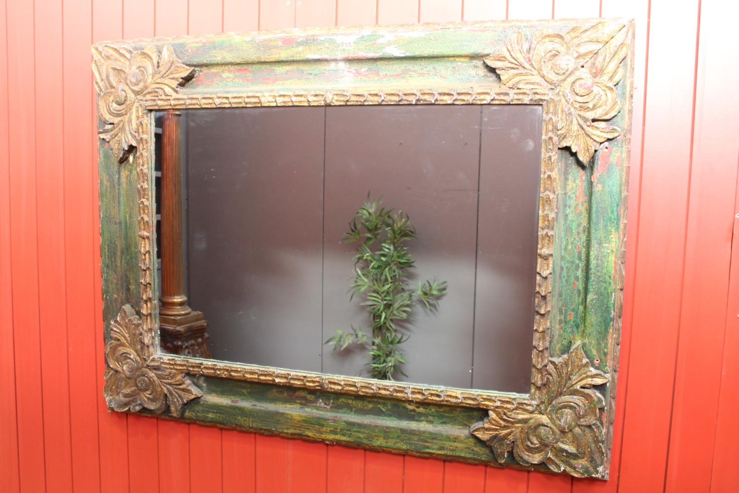 Distressed giltwood and painted wall mirror - Image 2 of 2