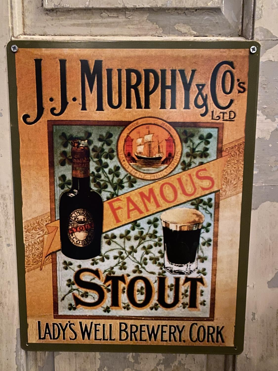 Tin plate J.J. Murphy & Co's advertising sign.