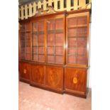 Early 19th C. Irish Georgian inlaid mahogany breakfront bookcase