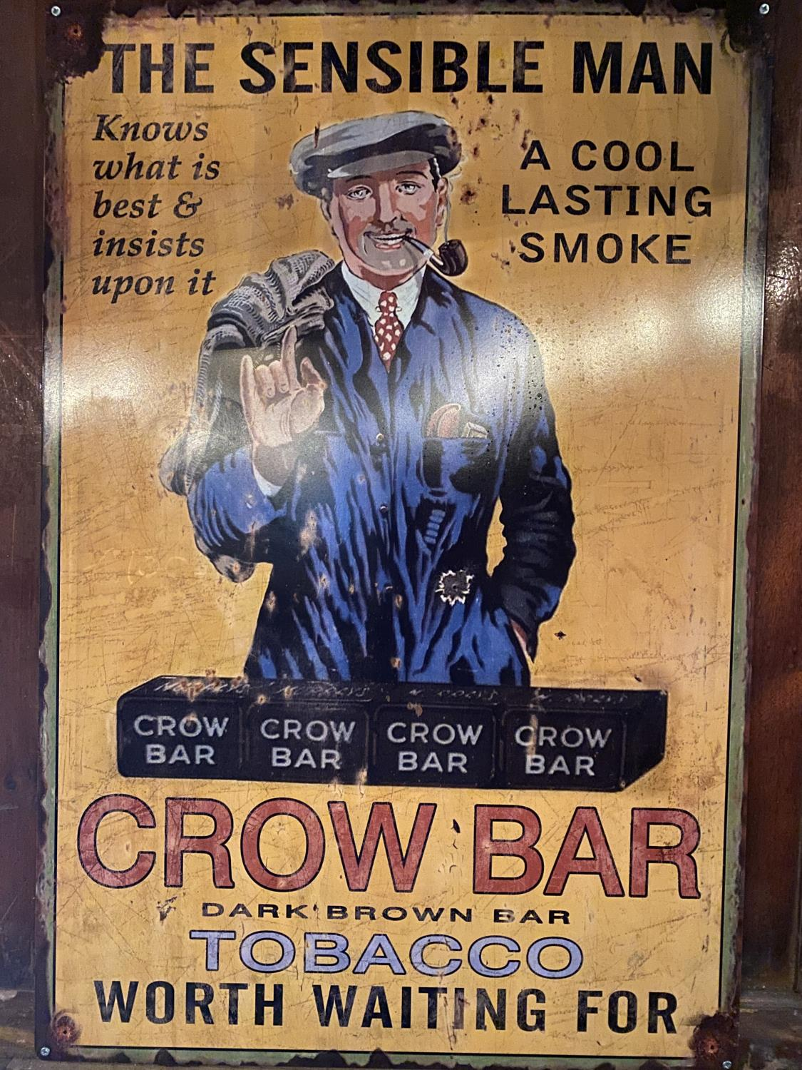 Tin plate Crow Bar tobacco advertising sign.