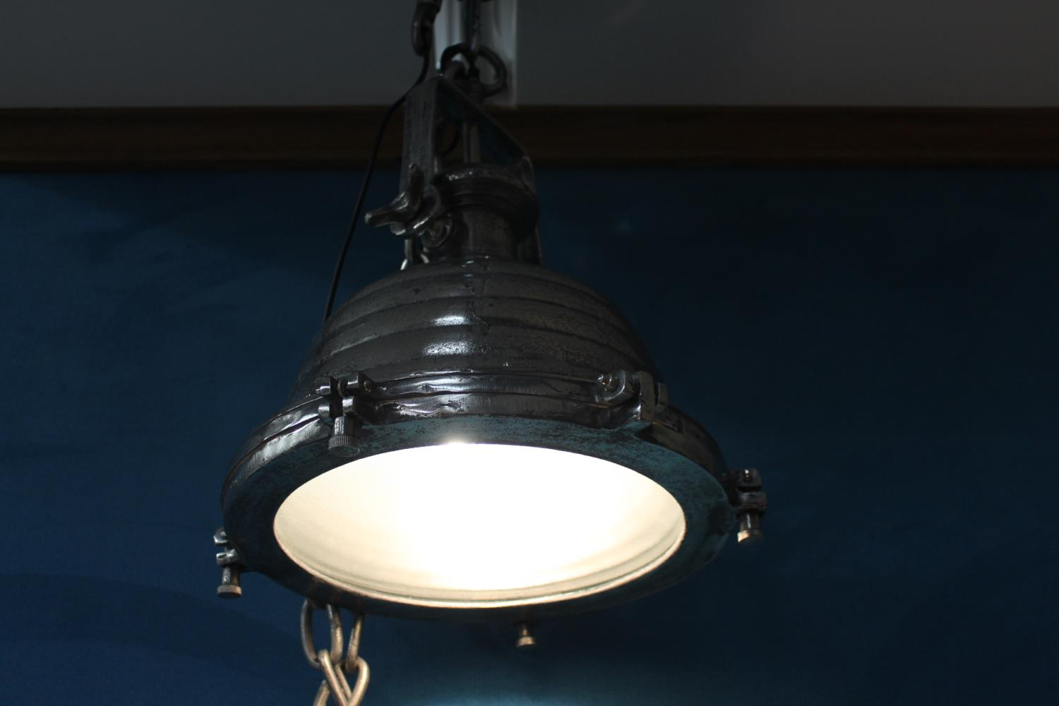Pair of nickel industrial downlighters - Image 2 of 2