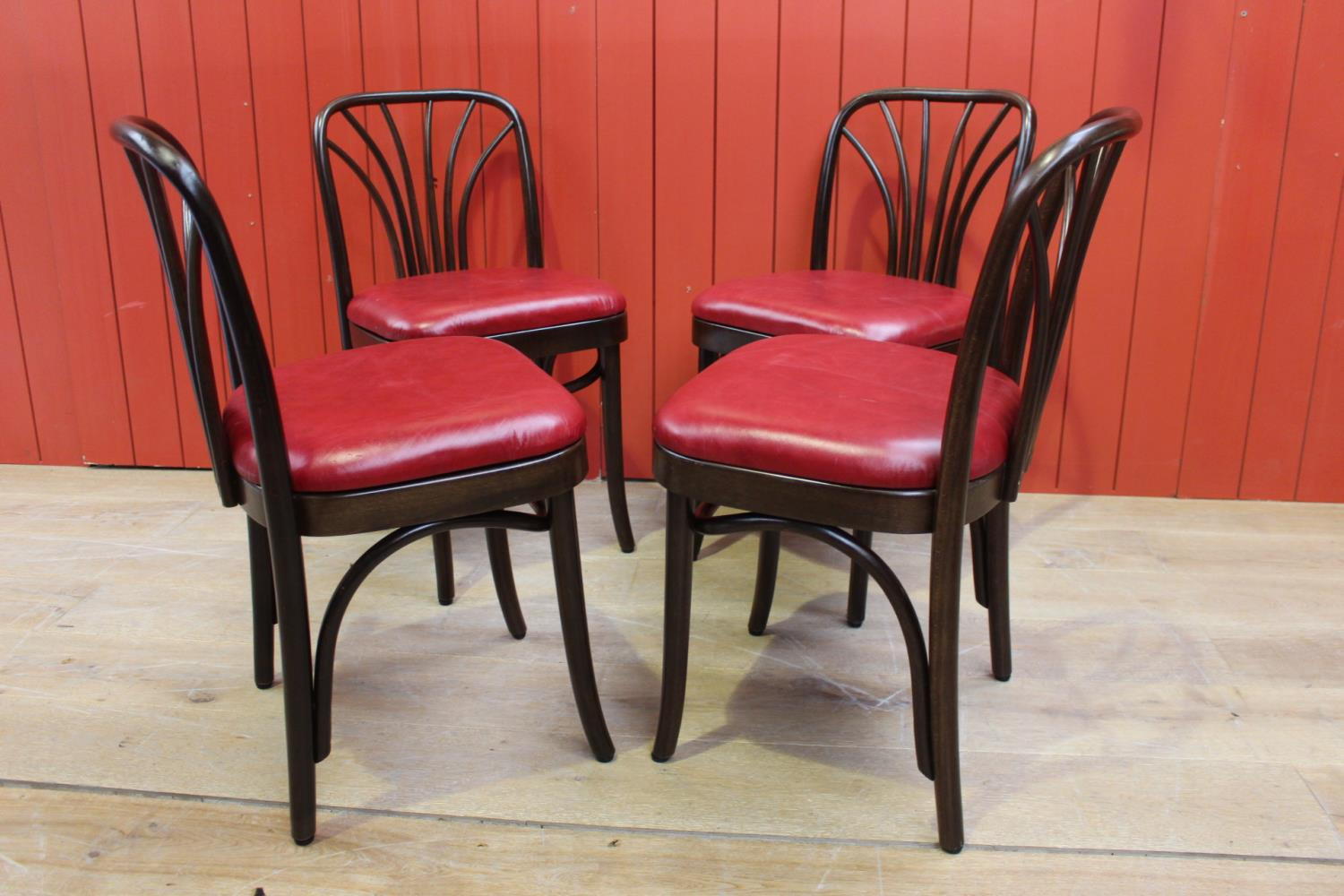 Set of four bentwood side chairs.