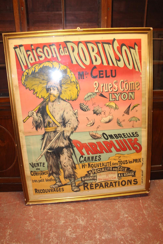 Maison Du Robinson Mlle Celu Umbrella advertising sign.