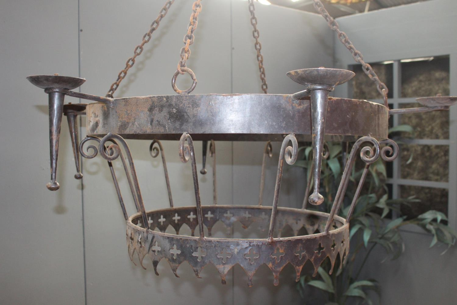 Good quality wrought iron hanging chandelier in the Medieval style {90 cm H x 118 cm Dia.}.