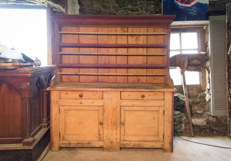19th C. pine Irish kithchen dresser.