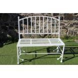 Wrought iron garden seat.