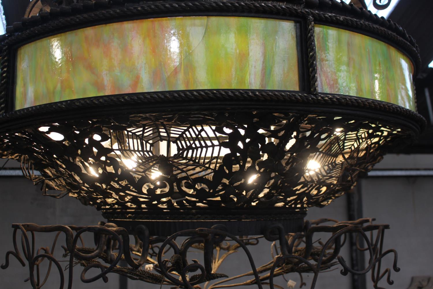 Wrought iron two tier ceiling light - Image 2 of 3
