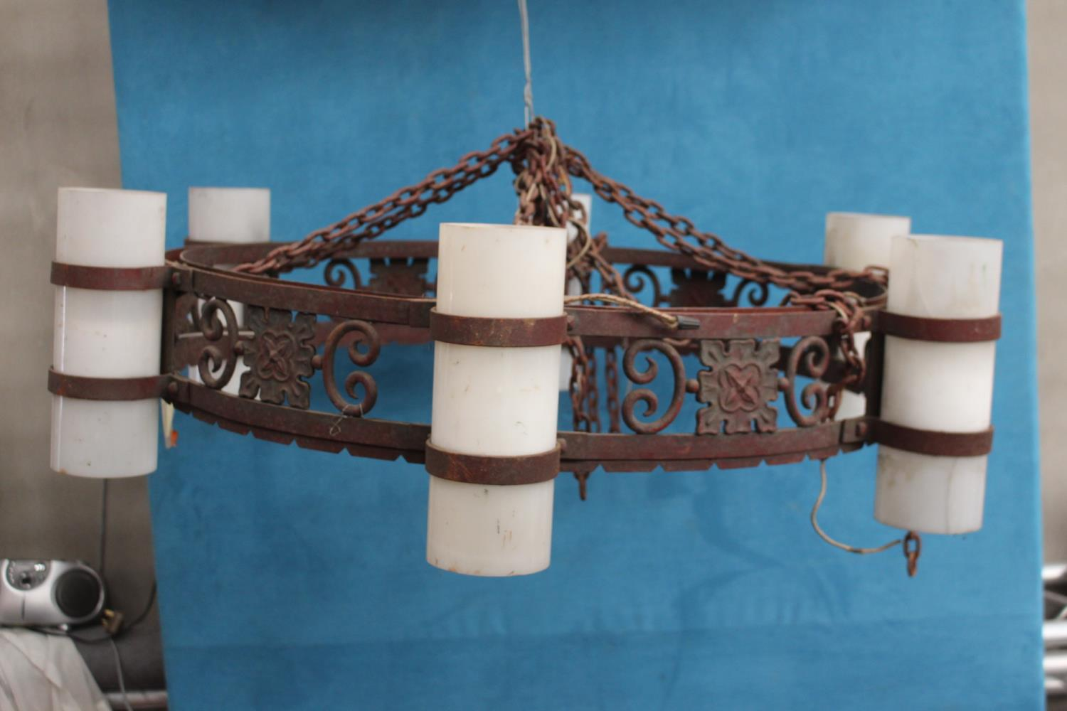 Good quality wrought iron hanging chandelier with opaline glass shades in the Gothic style {30 cm H