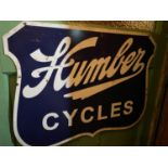 Tin plate Humber Cycles advertising sign.