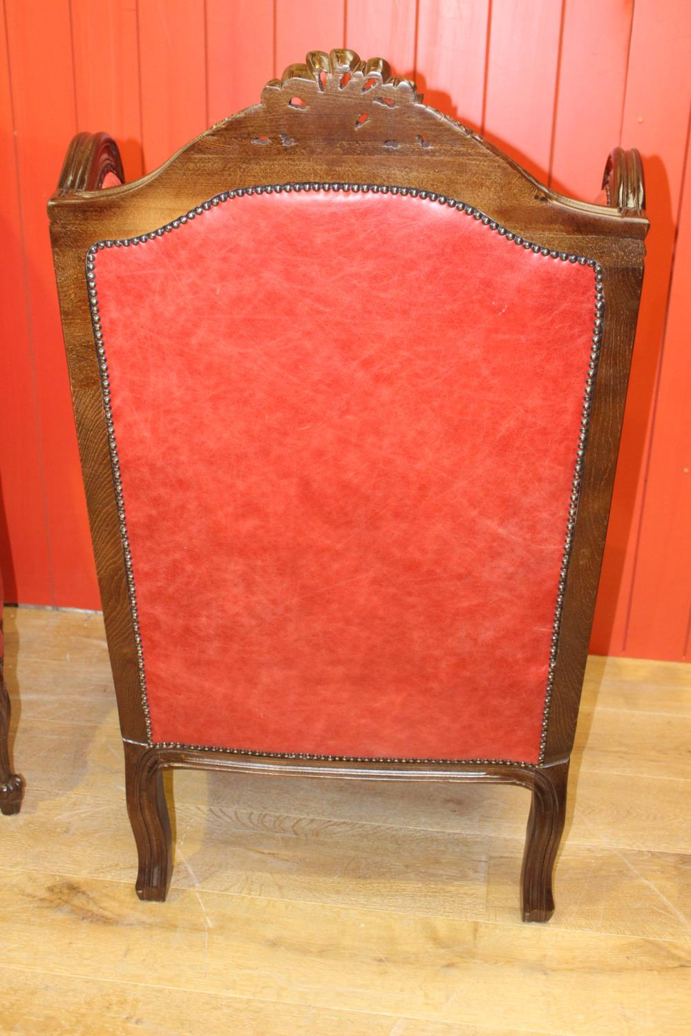 Pair of wing back leather upholstered armchairs - Image 2 of 2