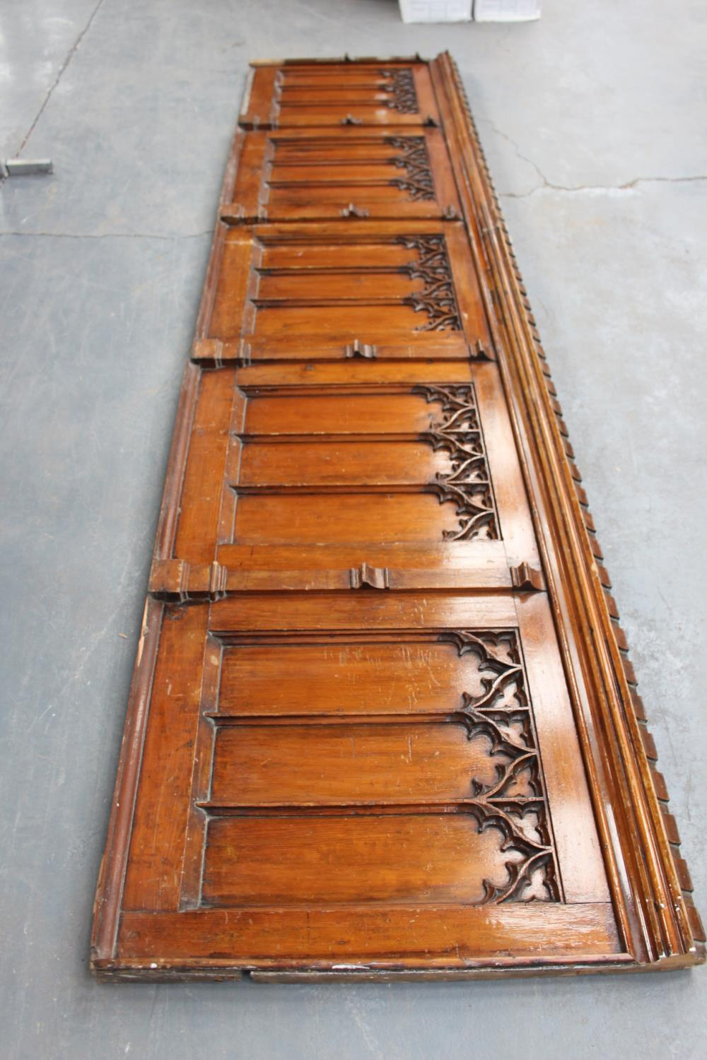 Pitch pine panel in five sections in the Gothic Style. - Image 4 of 4