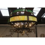 Unusual wrought iron two tier ceiling light