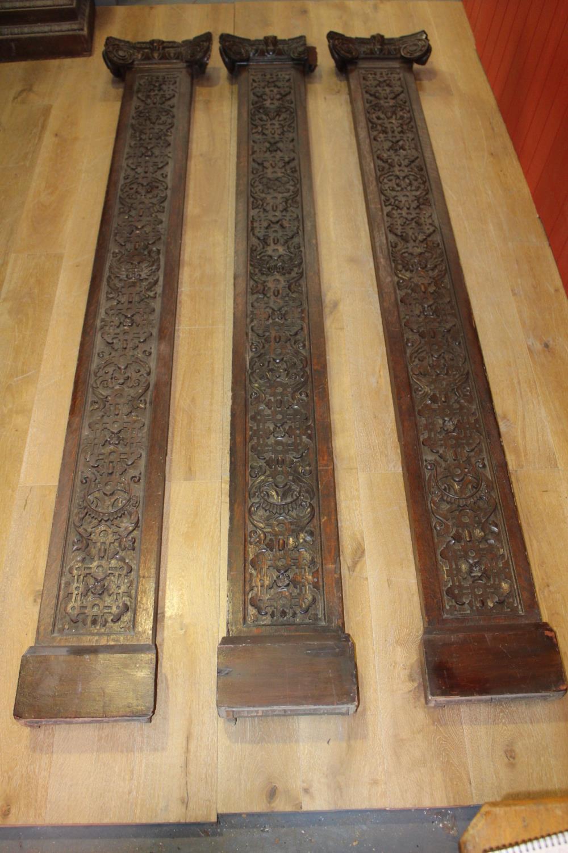 Three 19th C. carved oak flat columns