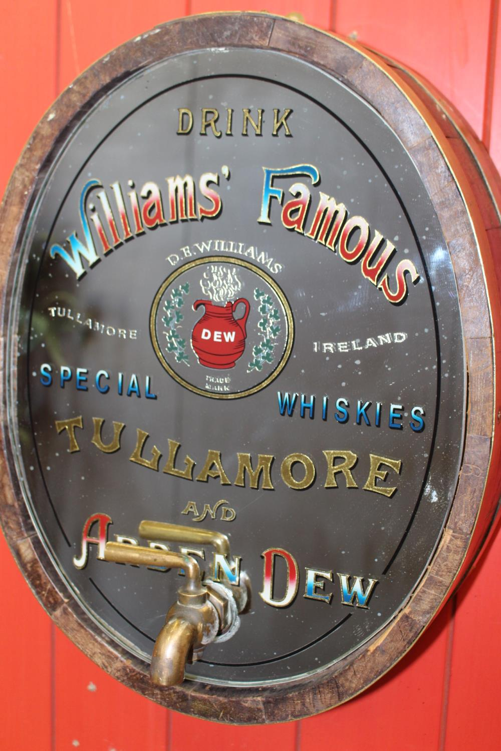 Williams Famous Tullamore and Arden Dew Whiskey oval barrel end mirror