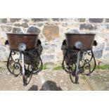 Pair of cast iron pots