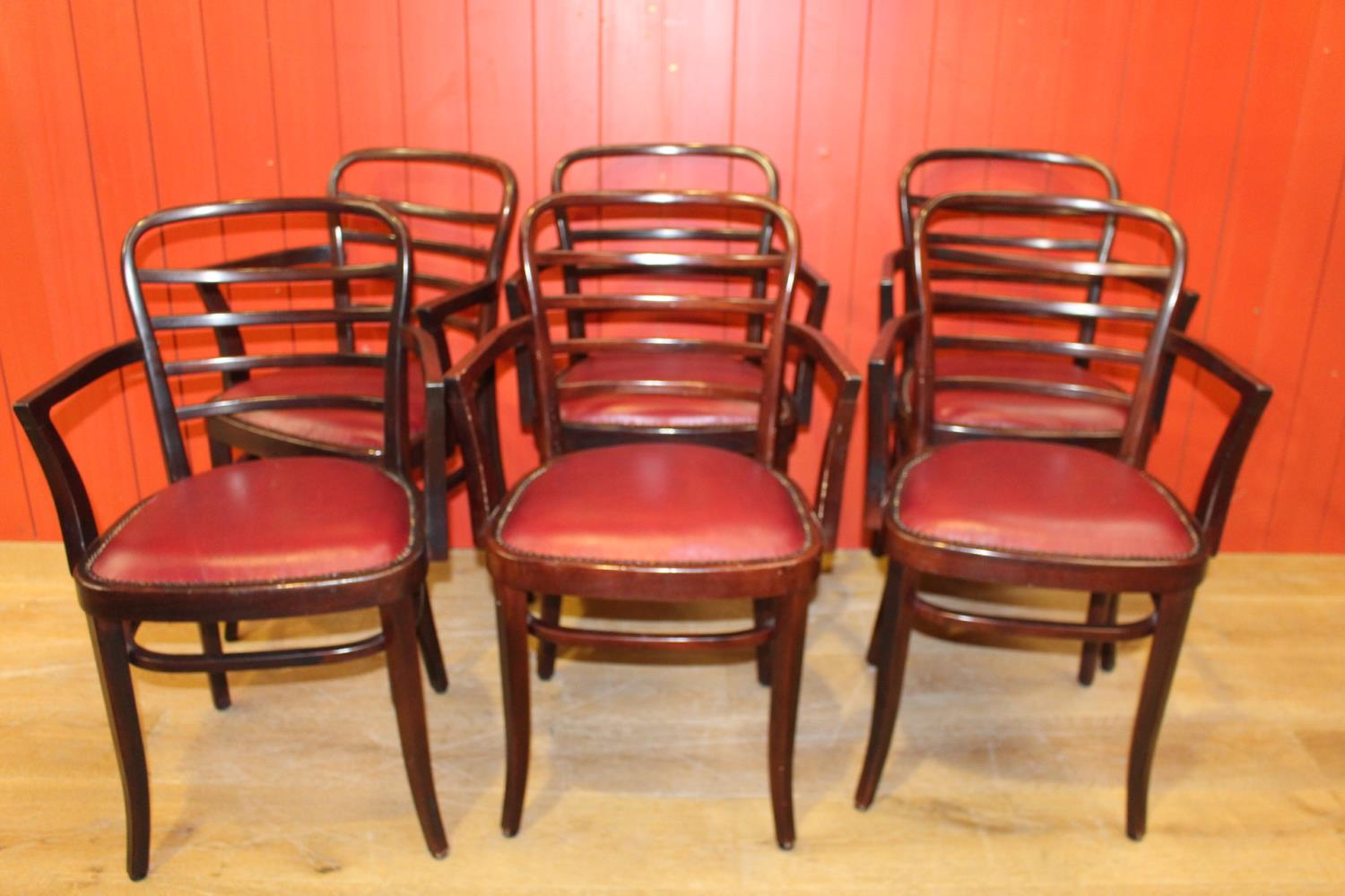 Six bentwood armchairs