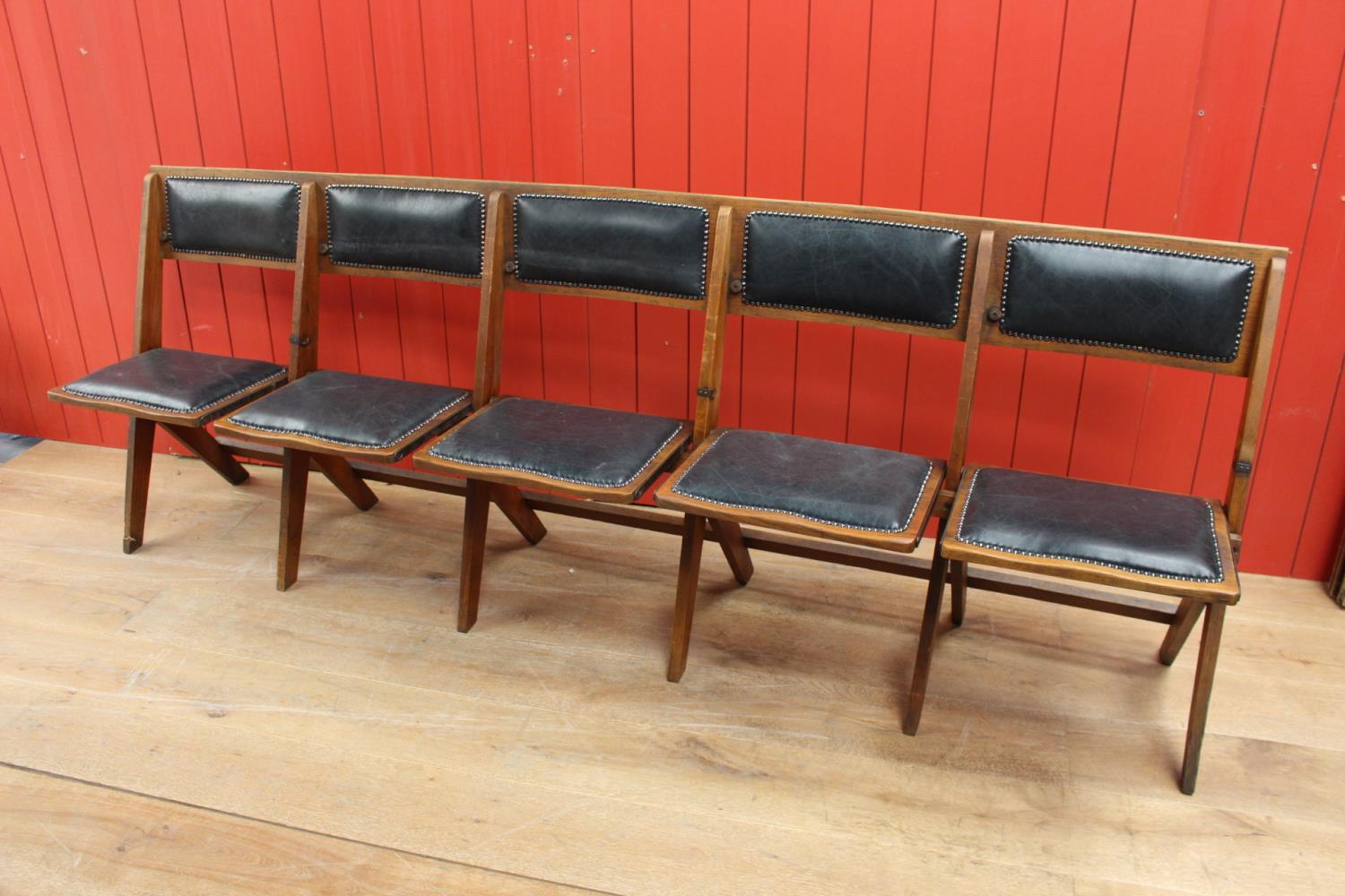 Set of five fold up church seats