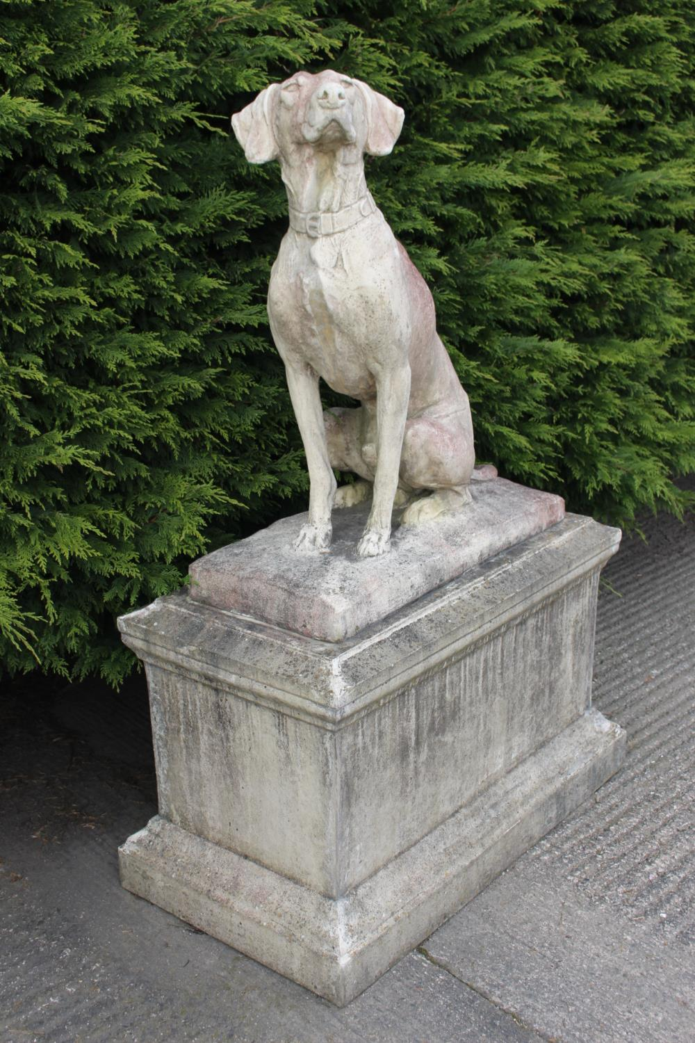 Pair of stone models on seated hounds - Image 2 of 3
