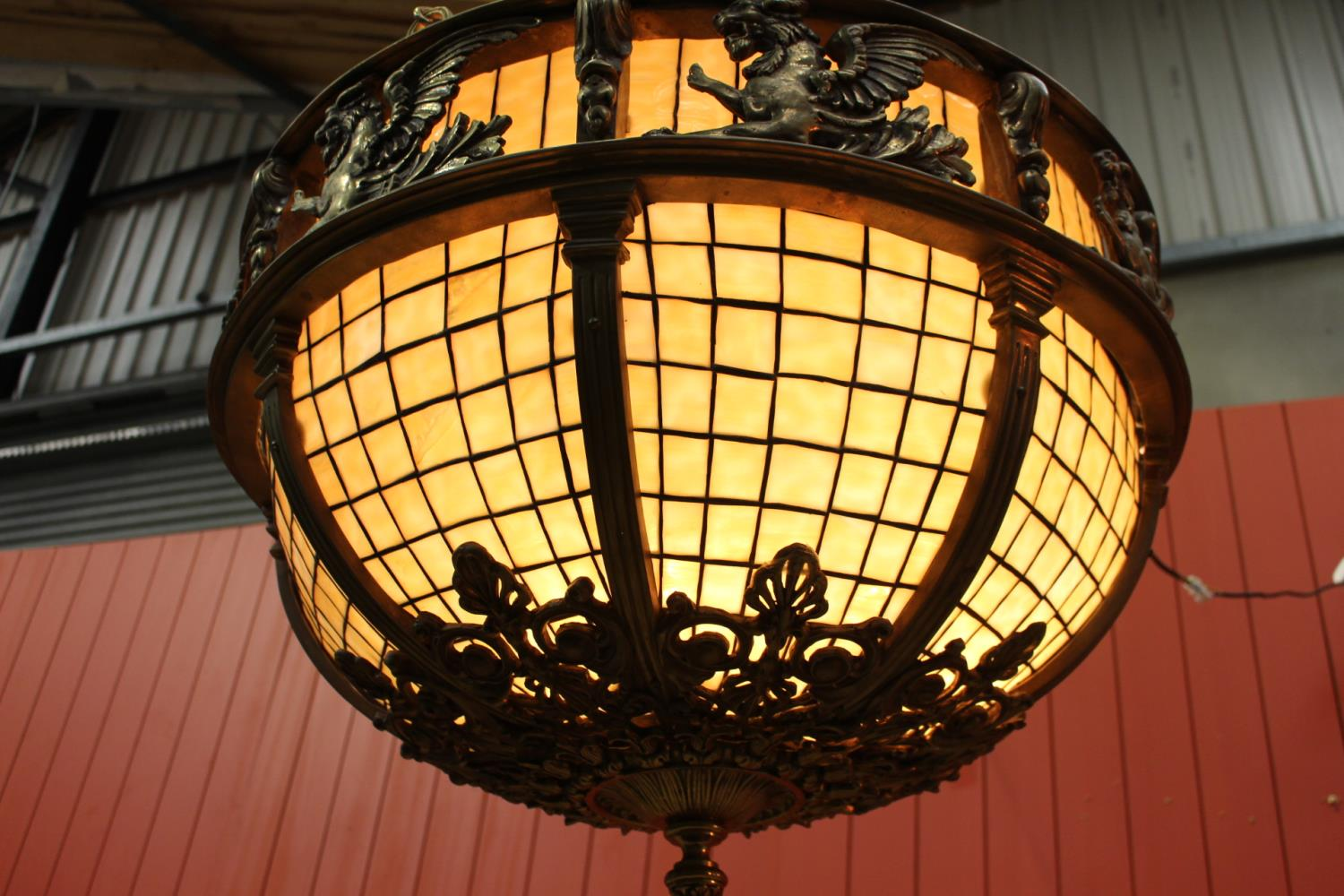 Bronze and opaque glass hanging centre light - Image 2 of 2