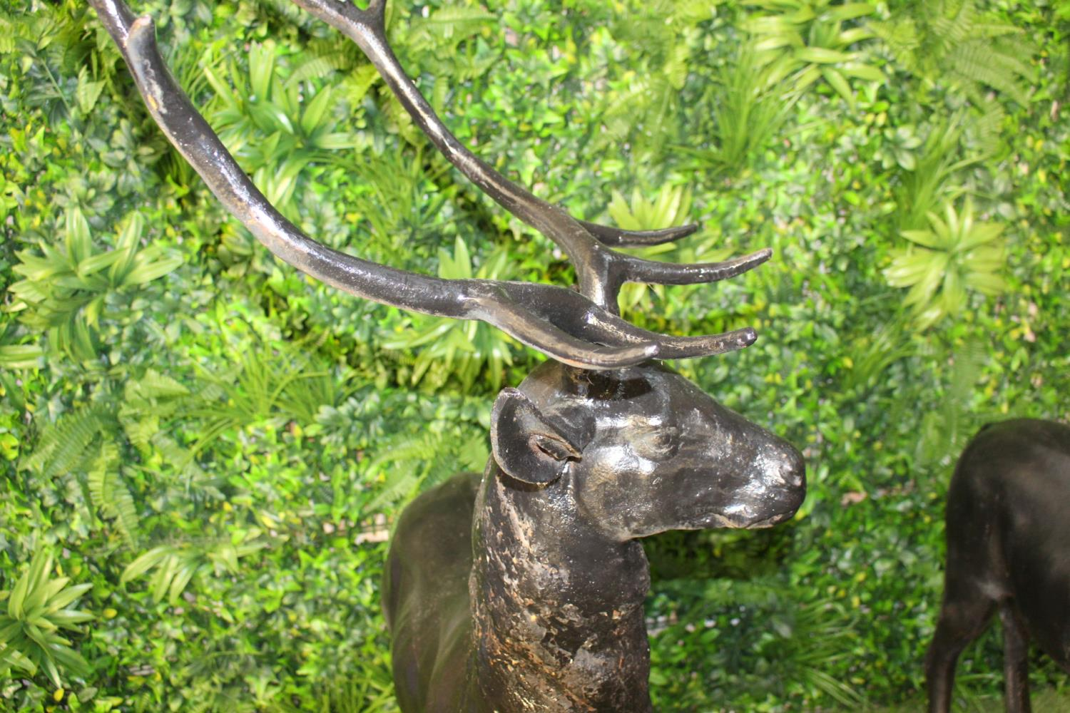 Pair of cast iron models of Stags - Image 2 of 3