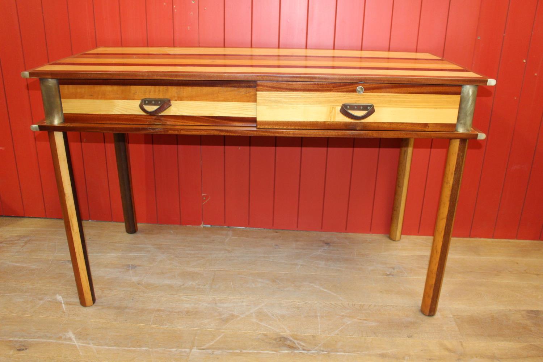 Brass bound consul table