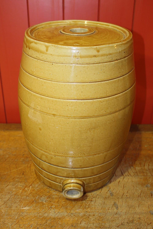 Early 20th C. glazed earthenware 1 gallon dispenser.
