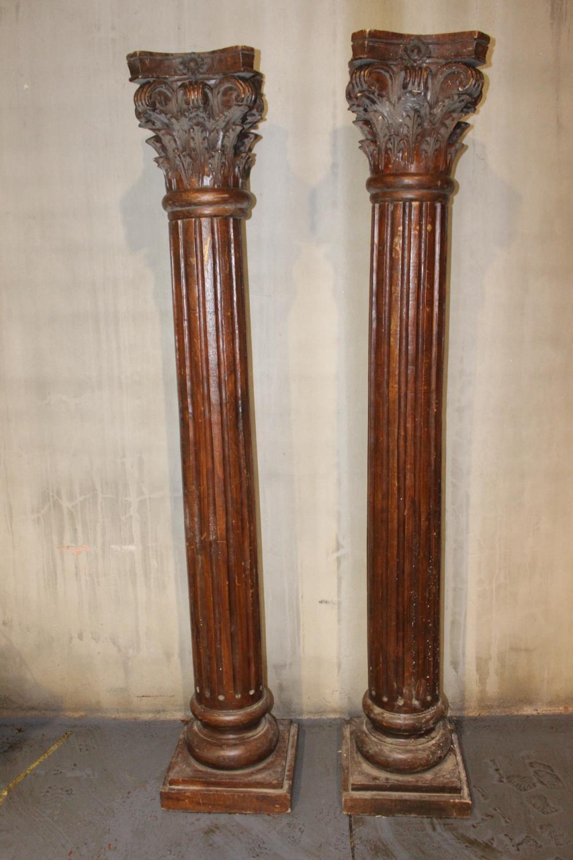 19th C. mahogany pillars