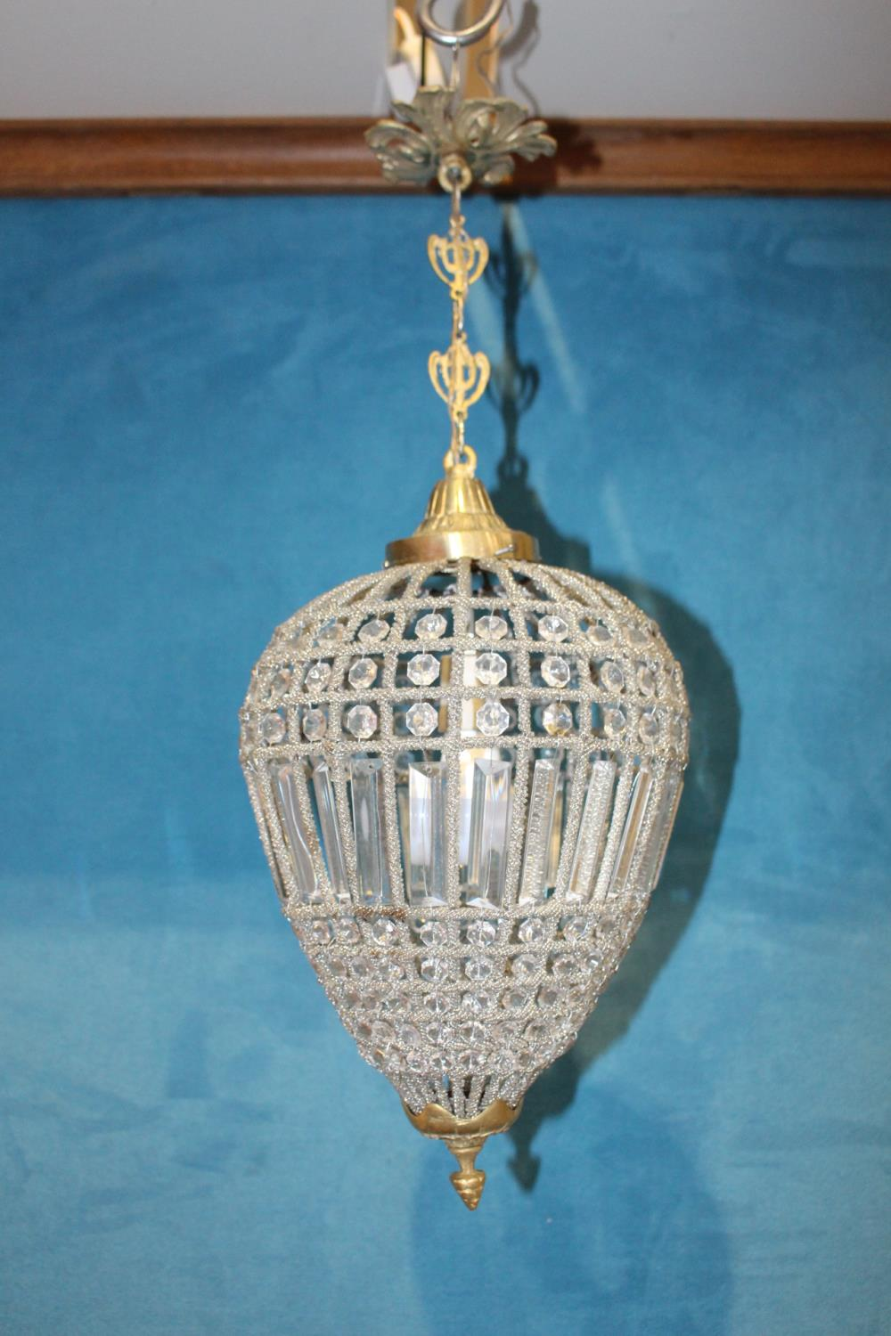 Brass and cut glass hanging centre light