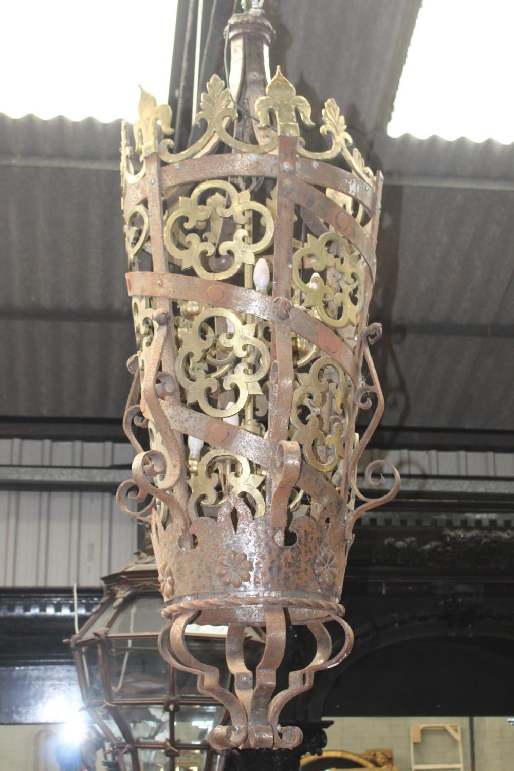 Good quality brass and wrought iron lantern in the Gothic manner {170 cm H x 40 cm Dia.}. - Image 2 of 3