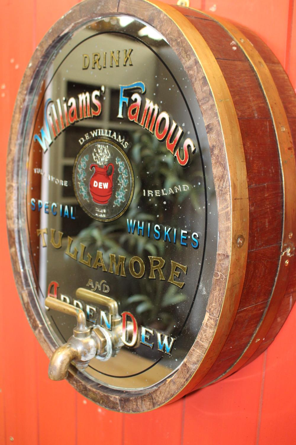 Williams Famous Tullamore and Arden Dew Whiskey oval barrel end mirror - Image 2 of 2