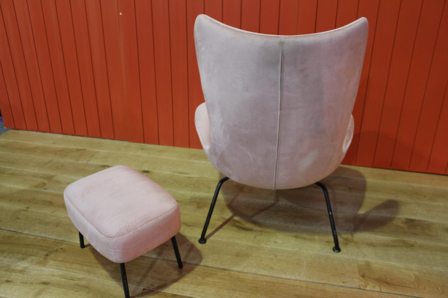 Fabric upholstered and metal framed armchair - Image 2 of 2