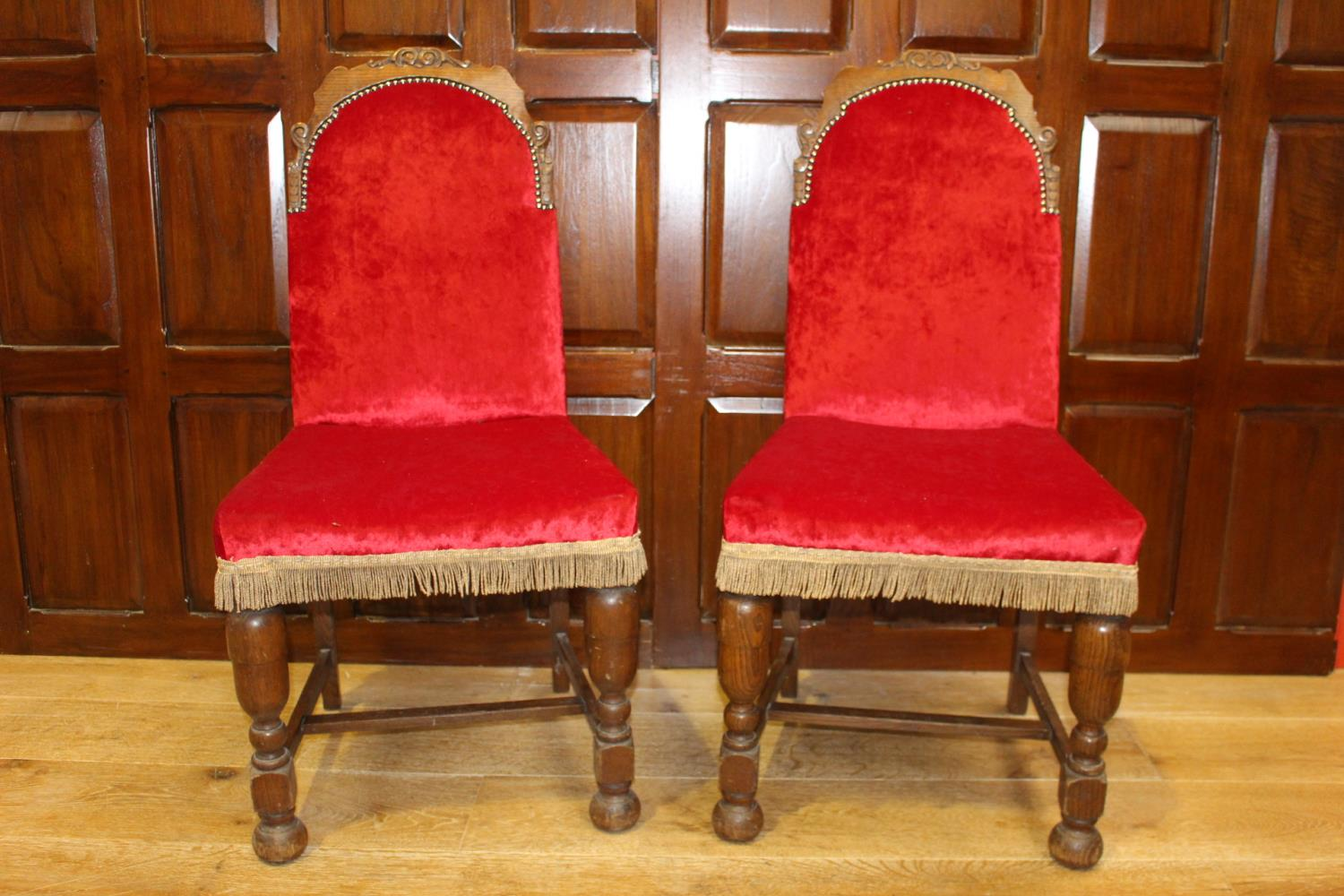Pair of late 19th C. upholstered side chairs.