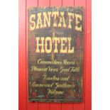 Santa Fe Hotel hand painted advertising board.