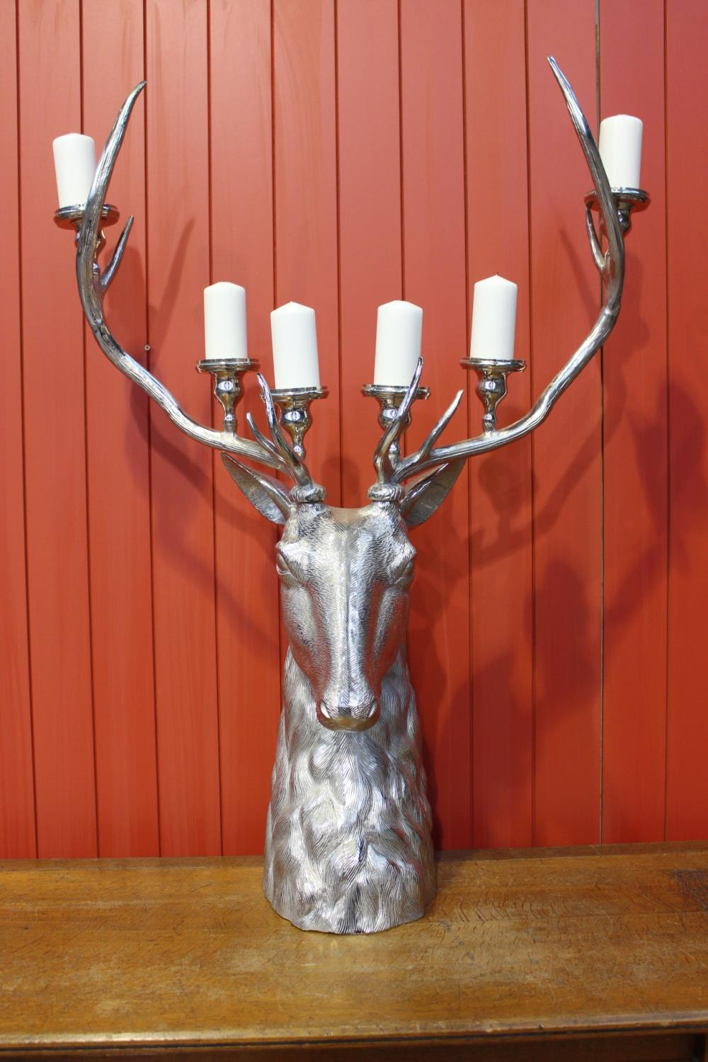 White metal six branch candle holder